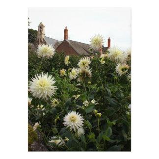 Dahlias in cottage garden custom invitation