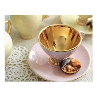 Dainty Pink and gold Coffee Cup Postcard