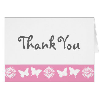 Daisies and Butterflies in Petal Pink Note Card