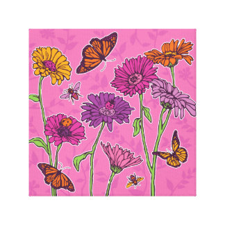 Daisies and butterflies in pink, purple and orange gallery wrapped canvas