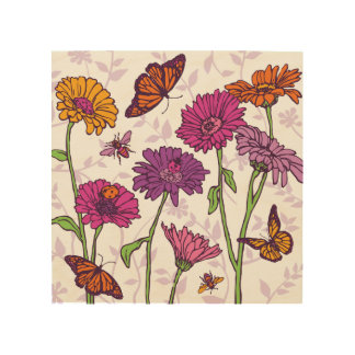 Daisies and butterflies in pink, purple and orange wood canvas