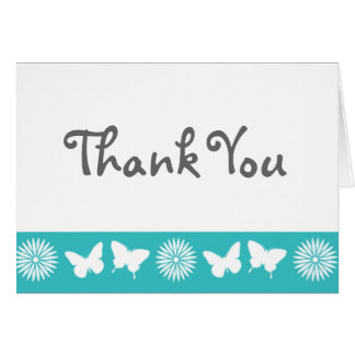Daisies and Butterflies in Turquoise Note Card