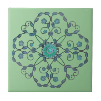 Daisies and Leaves Tile