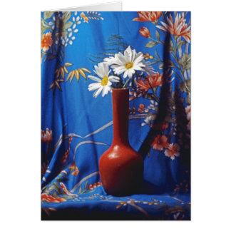 Daisies In Orange Vase Greeting Card