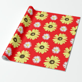 Daisies on Orange Red Wrapping Paper