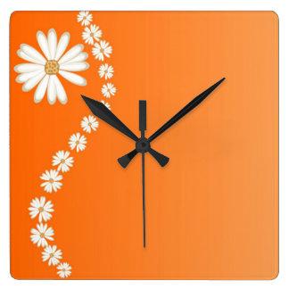 Daisies on Orange Square Wall Clock