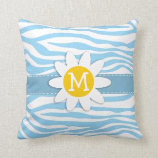 Daisy; Baby Blue Zebra Stripes Animal Print Throw Pillow