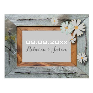 daisy barn wood western country save the date postcard