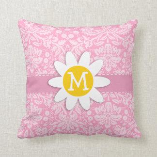 Daisy; Carnation Pink Damask Pattern Cushion