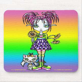 """Daisy"" Cute Cat Rainbow Fairy Art Mousepad"