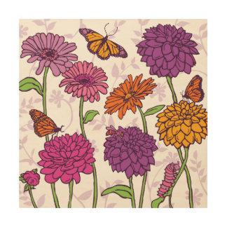 Daisy, Dahlia & butterfly in pink, purple & orange Wood Print