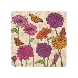 Daisy, Dahlia & butterfly in pink, purple & orange Wood Prints