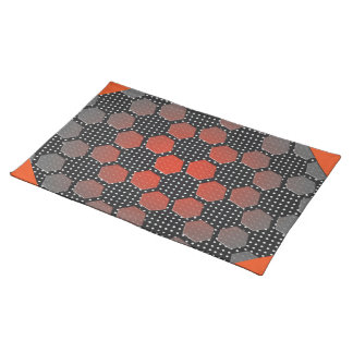 DAISY HEX WITH ORANGE RED TIPS COTH PLACEMATS