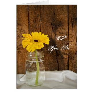 Daisy in Mason Jar Will You Be My Bridesmaid Card