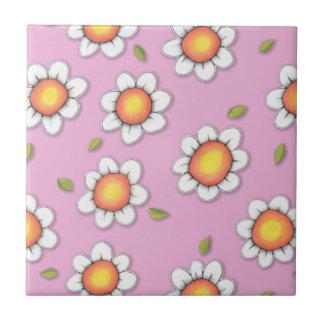 Daisy Joy pink Daisies Tile