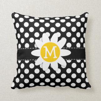 Daisy on Black and White Polka Dots Cushions