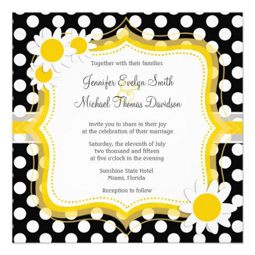Daisy on Black and White Polka Dots Personalized Invitations