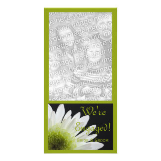 Daisy on Black Marriage Engagement Announcement Picture Card