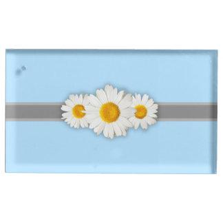 Daisy Ribbon Blue Gray & White Table Card Holder