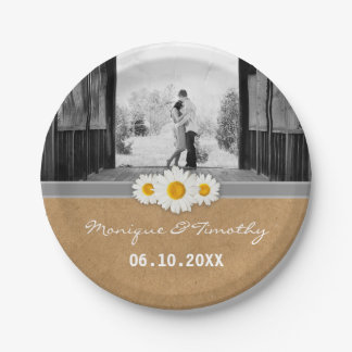 Daisy Ribbon Faux Rustic Paper Wedding Party 7 Inch Paper Plate