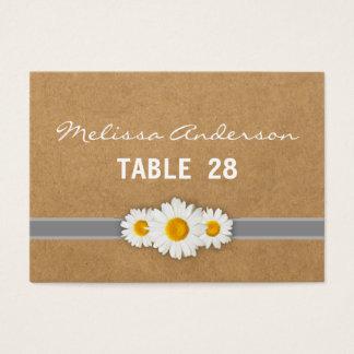 Daisy Ribbon Rustic Faux Paper Escort Card