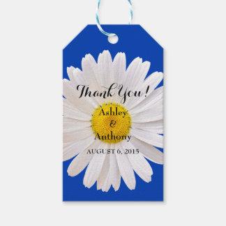 Daisy Royal Blue White Wedding Thank You Favor Tag