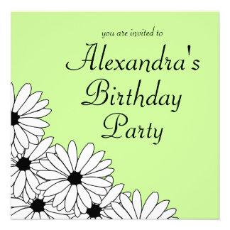 Daisy Storm Birthday Party Invitation Black Text
