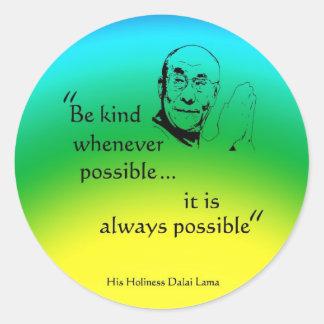 Dalai Lama: Be Kind Classic Round Sticker