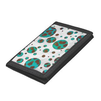 Dalmatian Brown and Teal Print Tri-fold Wallet