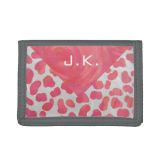 Dalmatian Pink and White with Monogram Trifold Wallet