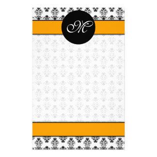 damask 01 (orange) unlined, M Personalized Stationery