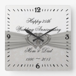Damask 25th Wedding Anniversary Square Wall Clock