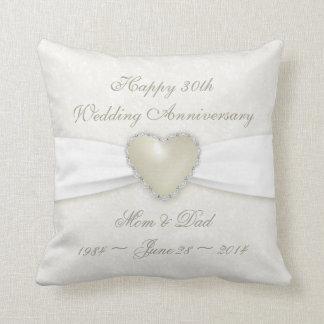 Damask 30th Wedding Anniversary Throw Pillow