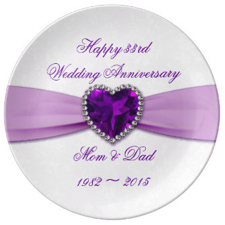 Damask 33rd Wedding Anniversary Porcelain Plate