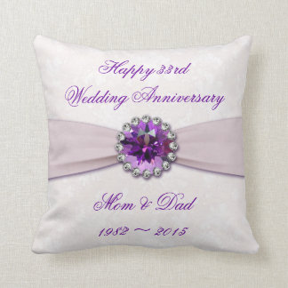 Damask 33rd Wedding Anniversary Throw Pillow