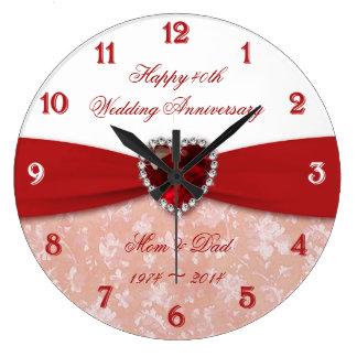 Damask 40th Wedding Anniversary Design Large Clock