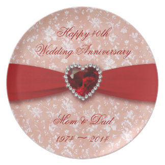 Damask 40th Wedding Anniversary Melamine Plate