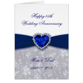 Damask 45th Wedding Anniversary Greeting Card
