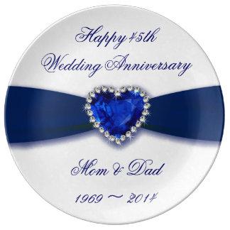 Damask 45th Wedding Anniversary Porcelain Plate