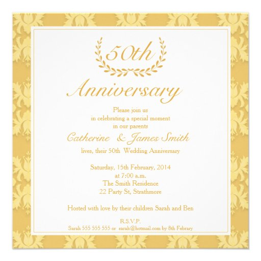 Damask 50th Golden Wedding Anniversary Invitation