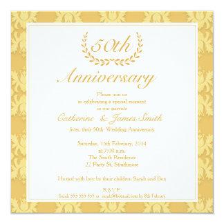 Damask 50th Golden Wedding Anniversary Invitation