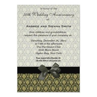 Damask 50th Wedding Anniversary Card