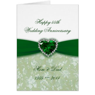 Damask 55th Wedding Anniversary Greeting Card