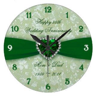 Damask 55th Wedding Anniversary Wallclocks