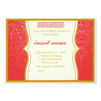 """Damask and Indian Styled Invite 5"""" X 7"""" Invitation Card"""