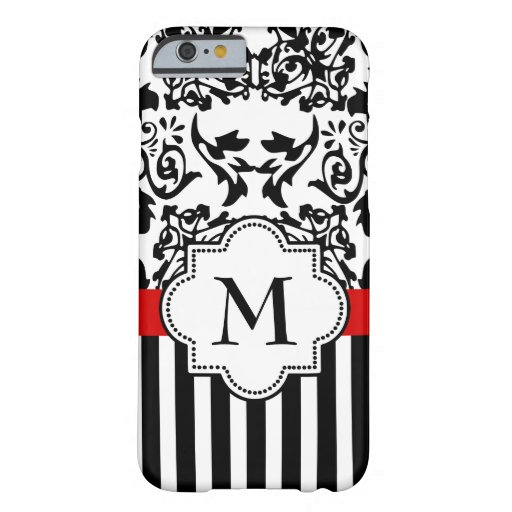 damask and stripes monogram barely there iPhone 6 case