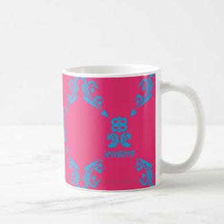 Damask Aqua-Magenta Coffee Mug