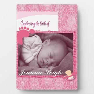 Damask Baby Girl Birth Photo Keepsake Plaque
