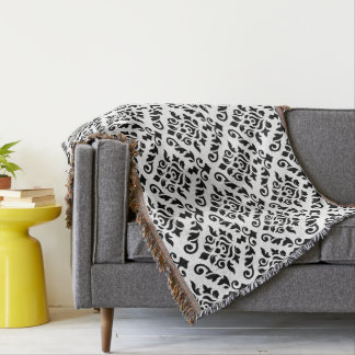 Damask Baroque Big Pattern Black on White Throw Blanket