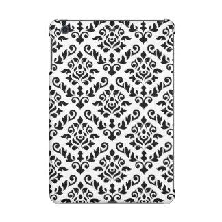 Damask Baroque Pattern Black on White (v) iPad Mini Cover